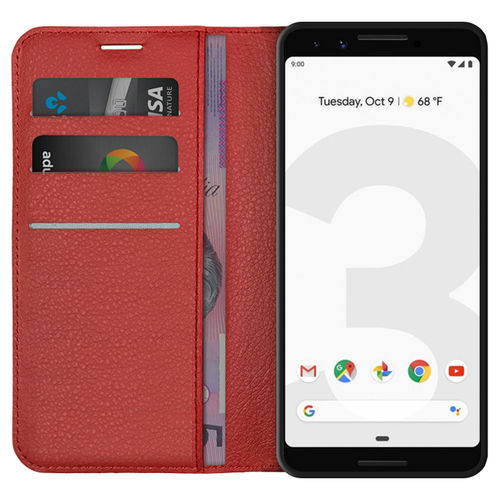 Leather Wallet Case & Card Holder Pouch for Google Pixel 3 - Red